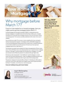 Mortgage default insurance - premiums going up March 17 | CanadianMortgageCo.com | Ingrid Bjel McGaughey | Toronto Mortgage Broker