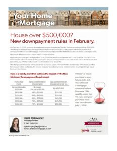 New downpayment rules effective February 2016